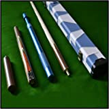 "High Quality Stunning Handmade 4 piece 145cm (58"") Zebra Wood Inlayed Grade 'A' Ash Snooker/Pool Cue Set Complete with Case, Mini-Butt, and a Telescopic Extension - Weight 19OZ"