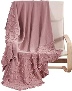 """PHF 100% Cotton Textured Throw Blanket Solid for Sofa Couch, 50"""" x 60"""", Clipped Jacquard for Home Decoration, Dusty Pink"""