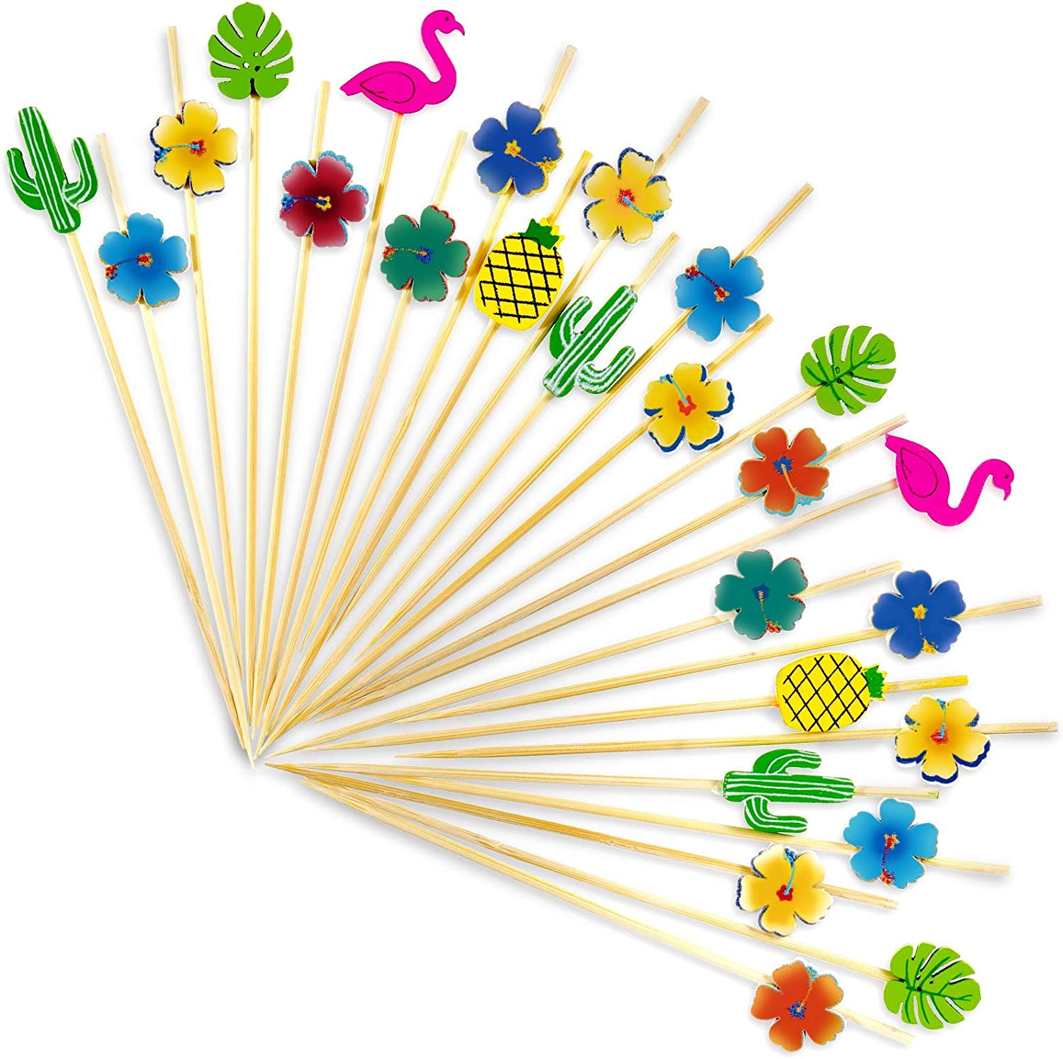 Zubebe 100 Pieces Tropical Cocktail Picks Hawaiian Party Theme Bamboo Toothpicks with Flamingo Cactus Pineapple Palm LeafHibiscus Flower Shapes forParty Cocktails Appetizers Fruits Dessert, 4.7 Inch