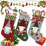 """Maxjaa Medias de Navidad, Juego de 3 Medias de Navidad Kit de 18""""Bolsa de Almacenamiento de Regalos Sin Rostro Patrón de…"""