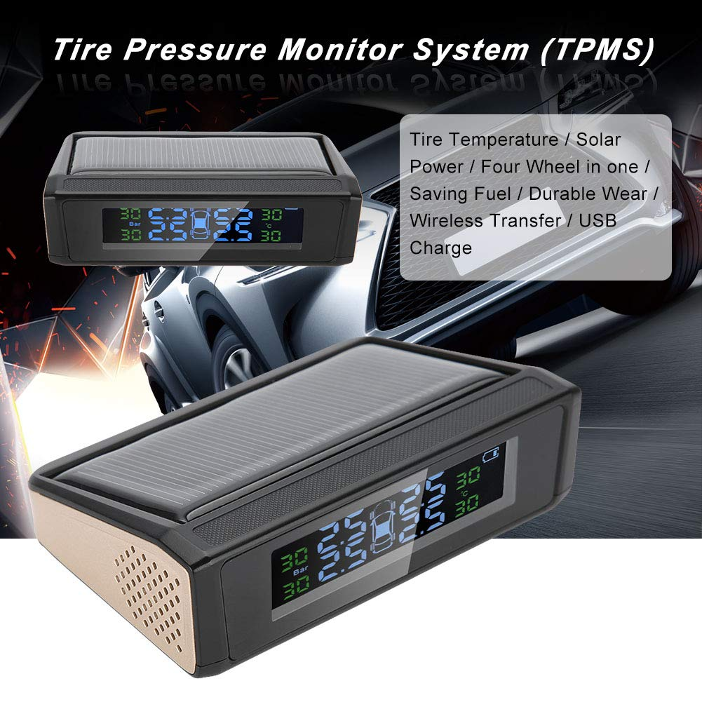 Cuque Tire Pressure Monitor 1.4-3.3Bar Wireless Solar TPMS Tire Pressure Monitoring System LCD Monitor Alarm Pressure Monitor Tool with 4 External Sensors Universal