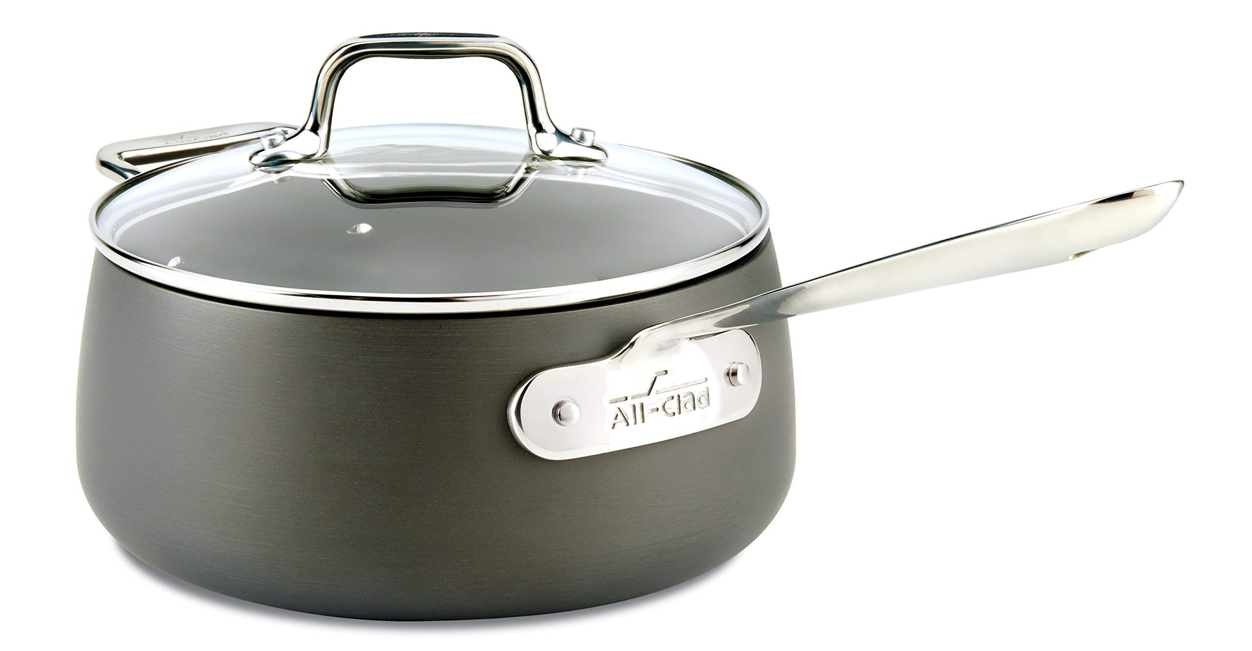 All-Clad E7852464 HA1 Hard Anodized Nonstick Dishwasher Safe PFOA Free Sauce Pan Cookware, 3.5-Quart, Black (Renewed)