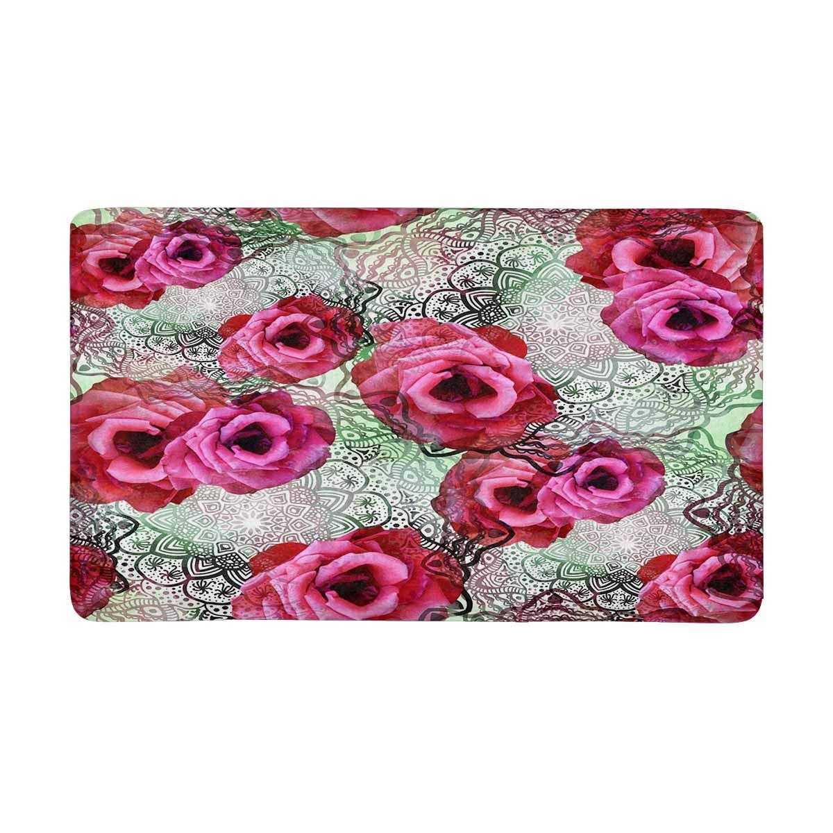 InterestPrint Abstract Rose Flowers Mandala Indoor Doormat Large 30 X 18 Inches Non Slip Front Entrance Door Mat Rug