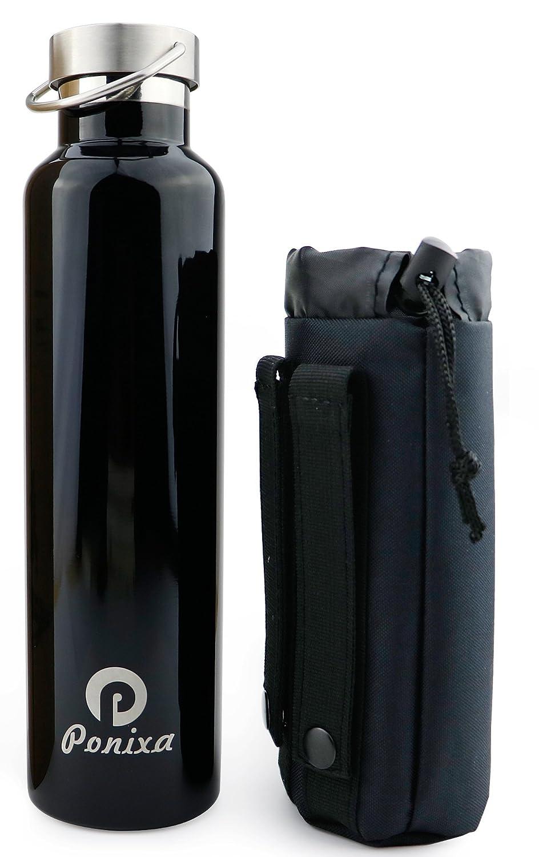 【最安値挑戦!】 ponixa魔法瓶水ボトルボトルポーチ付き、二重壁断熱材ステンレススチール水bottle-cold Up To 24 To hrs、ホットし B07BR44SWN、最大12時間、0.75リッター Up/1l 1000ml ブラック B07BR44SWN, シルバーカーと車椅子の店YUA:b75aefd8 --- a0267596.xsph.ru