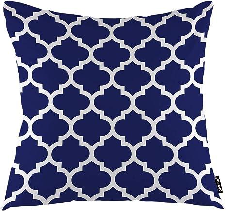 Amazon Com Ofloral Geometric Throw Pillow Covers Maroccan Mosaic Tiles Ethnic Ancient White Trellis Decorative Square Pillow Case 18 X18 Pillowcase Home Decor For Sofa Bedroom Livingroom Home Kitchen