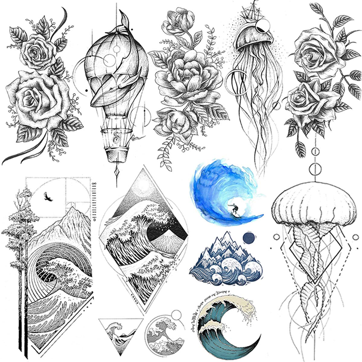 VANTATY 9 Sheets Sea Waves Surfing Temporary Tattoos For Women Kids Waterproof Fake Body Art Arm Jellyfish Whale Peony Flower Tattoo Stickers For Girls Lady Wrist Drawing Tatoo Paste.