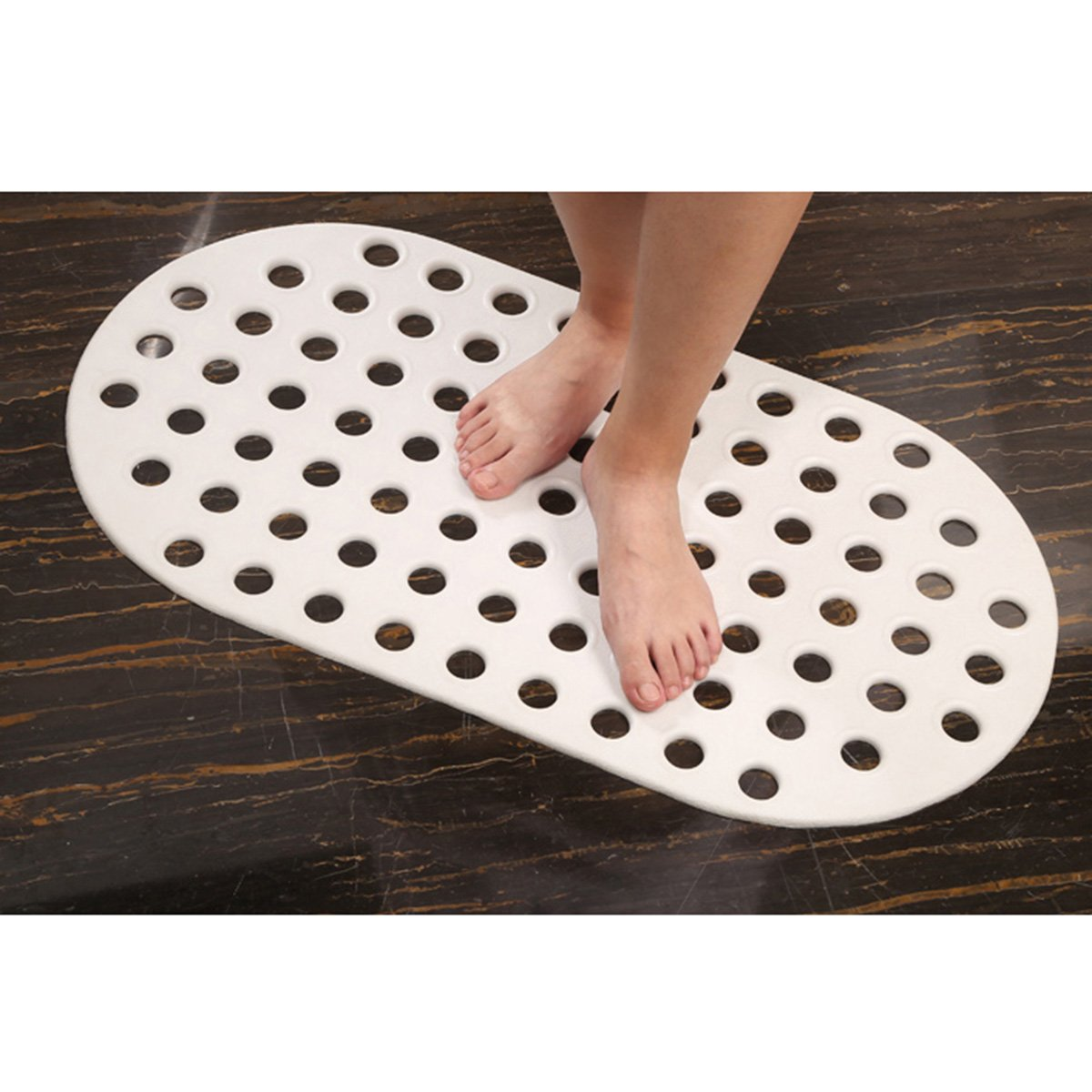 f/ür Kinder und /ältere Menschen sehr gut Oval weiss 74x 39 cm Sofhom Badewannenmatte Grosse L/öcher Duschmatte TPE Rutschfeste Badewanneneinlage Badematte