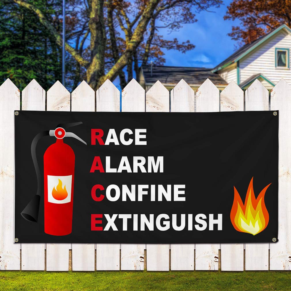 One Banner 8 Grommets 48inx96in Multiple Sizes Available Vinyl Banner Sign Race Alarm Confine Extinguish Lifestyle Marketing Advertising Black