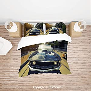 FashSam 4 Piece Bedding Sets Breathable Vintage Classic Car in Urban Street Old Fashion Auto in Town Nostalgia Picture for Home(Queen)