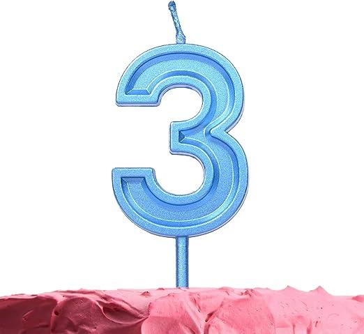 Pleasant Amazon Com Get Fresh Number 3 Birthday Candle Blue Number Three Birthday Cards Printable Giouspongecafe Filternl