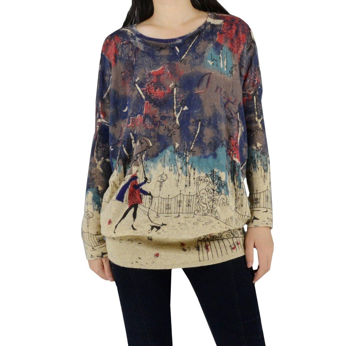 YSJ Women's Oversized Knitted Sweater Long Sleeves Baggy Knitwear Tops (One Size, Brown)