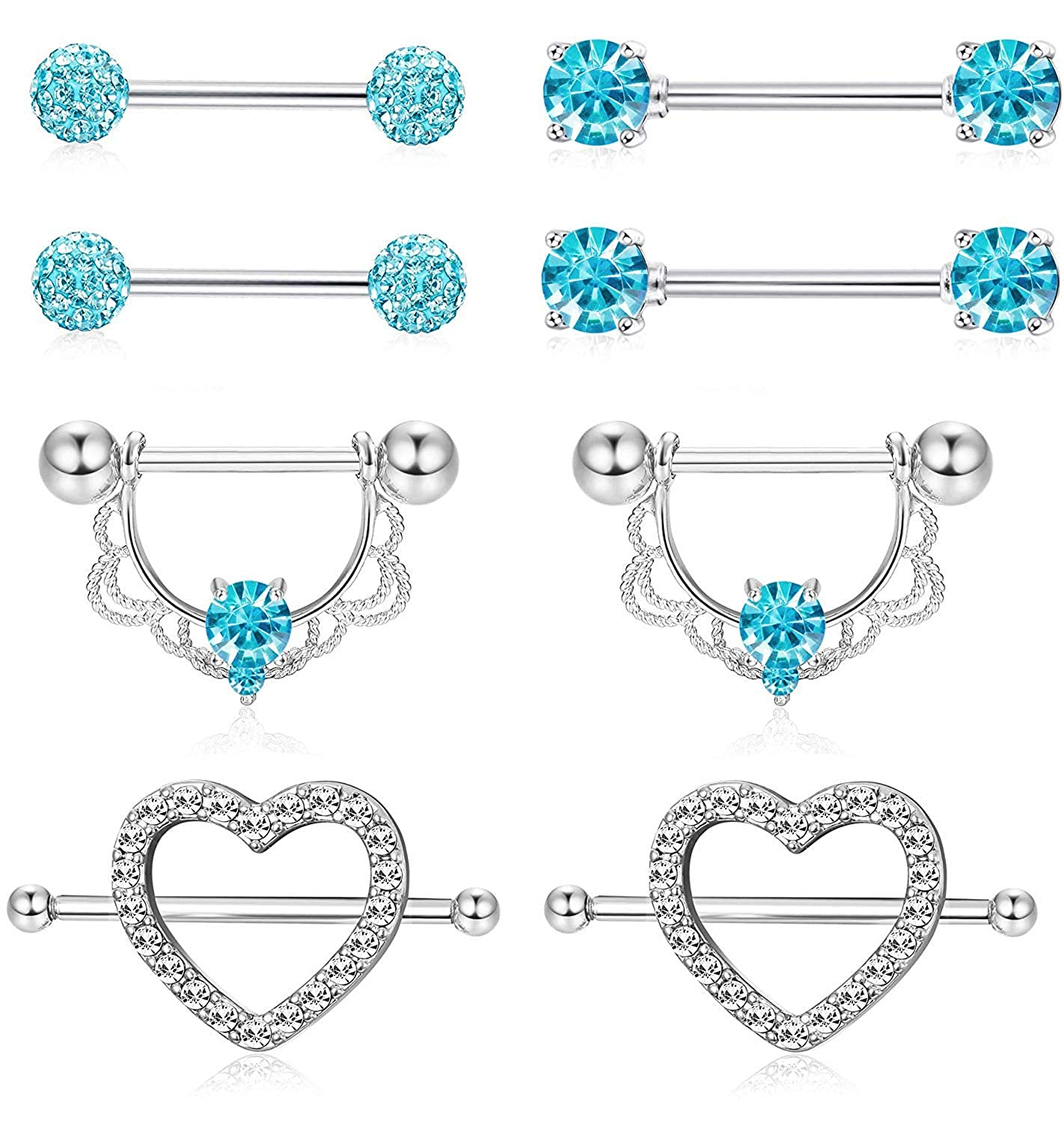 Blinst 4 Pairs 14G Stainless Steel Nipplerings Nipple Tongue Rings CZ Opal Barbell Body Piercing Jewelry