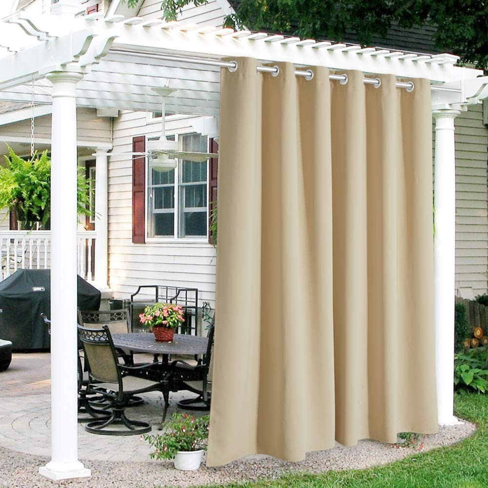 RYB HOME Patio Curtains Outdoor - Waterproof Heat UV Shade Thermal Insulated Vertical Blind for Porch Gazebo Canopy Pergola Garage Sun Room Decor, 84 Width x 84 inch Length, 1 Panel, Biscotti Beige