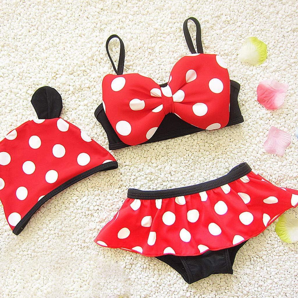 wanshop /® Neonata 3D Cartoon Mouse Costume da Bagno con DOT Stampa Pantaloncini Cappello Bikini Swimsuit per Ragazze Bambini Costumi da Bagno Outfits