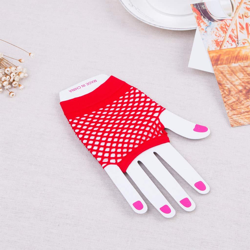 Meiqqm Damen M/ädchen Aush/öhlen Fischnetz Handgelenk L/änge Kurze fingerlose Handschuhe einfarbig Tanzen Party Halbfinger F/äustlinge mit Daumenloch 12 Farben
