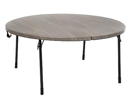 Round Fold In Half Table Light Gray Wood Grain