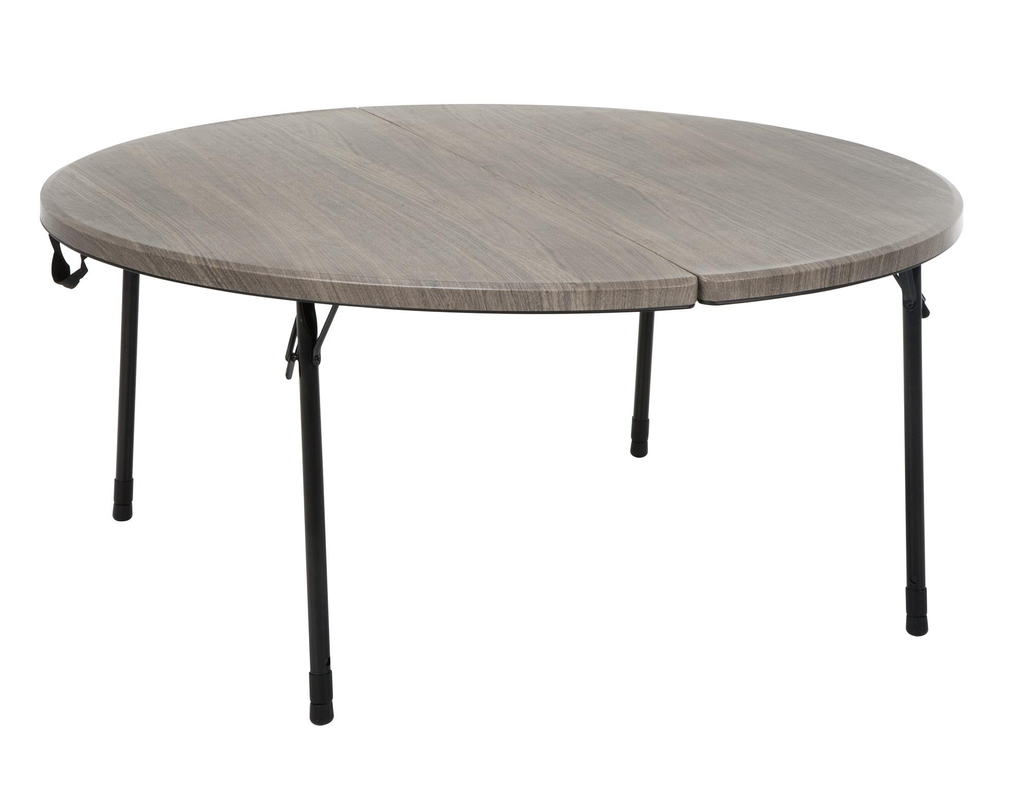Cosco 48 in. Round Fold in Half Table, Light Gray Wood Grain with Black Frame