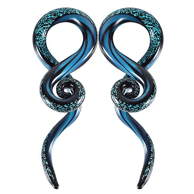 BodyJ4You 2PC Glass Ear Tapers Plugs 2G-16mm Dark Blue Sparkle Swirl Gauges Piercing Jewelry Set TP7118-00G