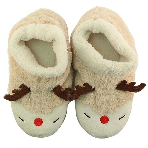 215b558537f1 SK Hat shop Rudolph Reindeer Nonslip Polar Fleece Lined House Slippers  Bootie Socks Beige S