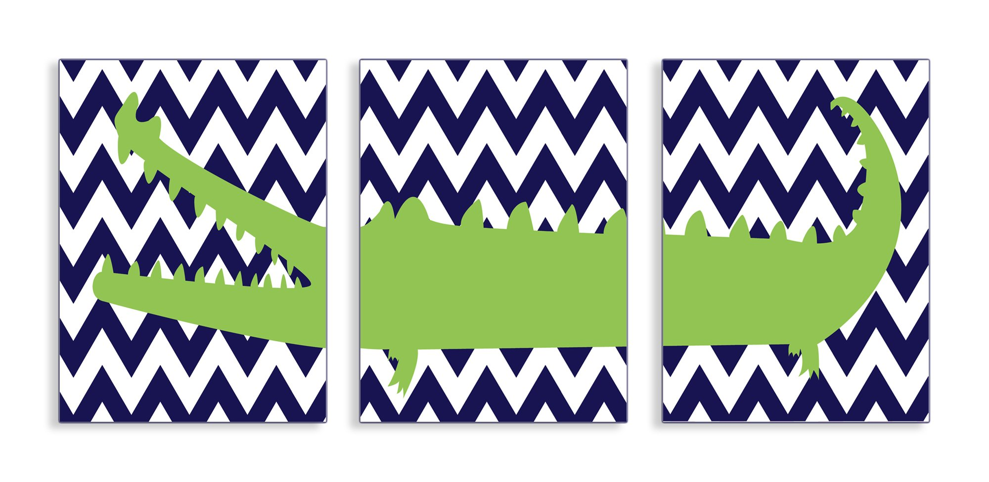 The Kids Room by Stupell Alligator On Navy Chevron 3-Pc Rectangle Wall Plaque Set, 11 x 0.5 x 15, Proudly Made in USA