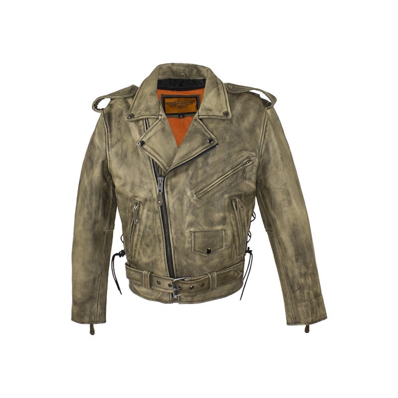 - Mens Distressed Brown Classic Police Style Leather Motorcycle Jacket with Side Laces Gun Pockets