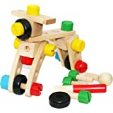 TOWO Wooden Nuts and Bolts Set Building Blocks Construction Kit 30 Pieces with a Draw String Bag - Model Building Tool Kits f