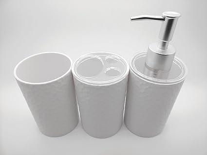 Juego de 3 – color blanco baño dispensador de jabón líquido, soporte para cepillo de