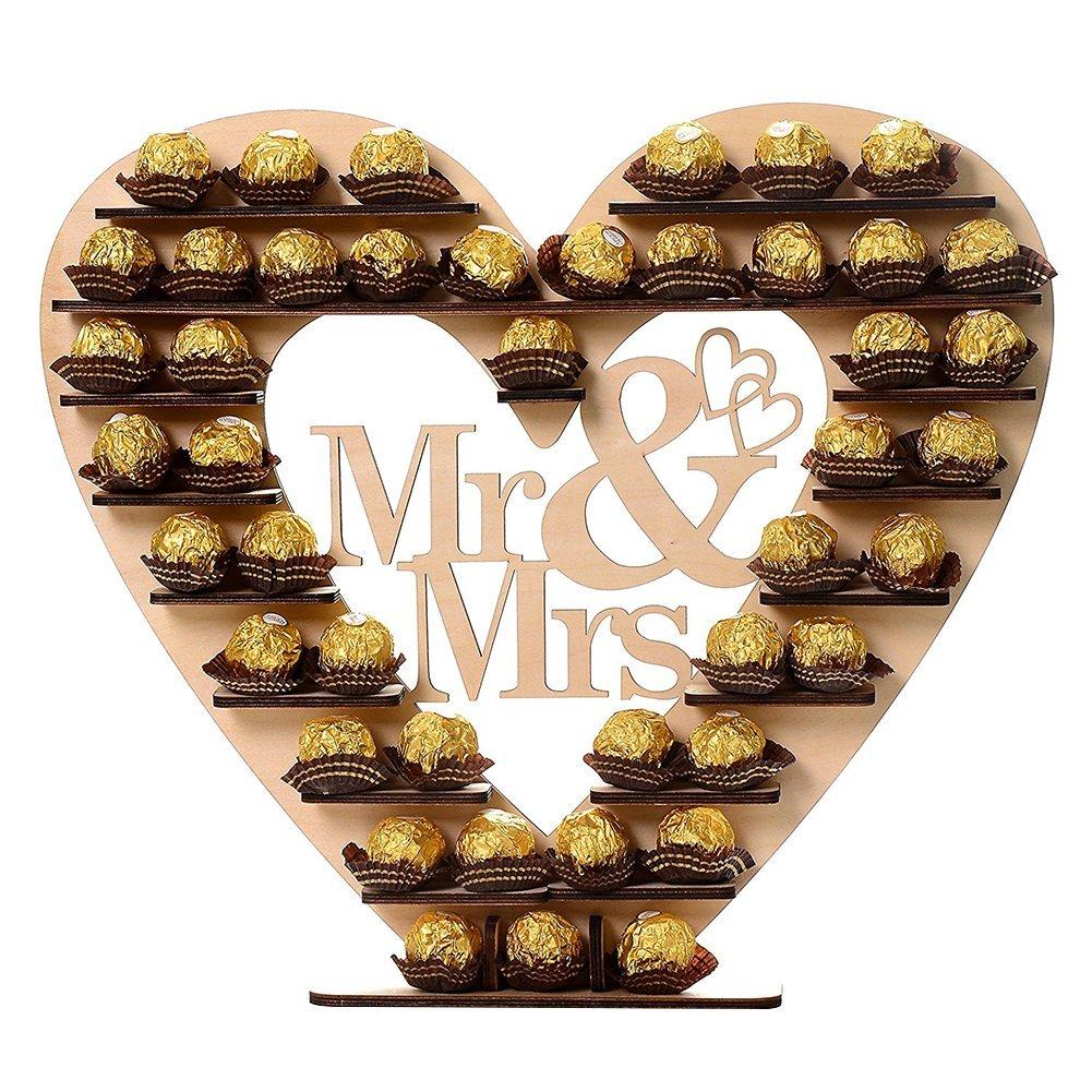 Yamalans Elegant Wooden Chocolate Holder DIY Mr Mrs Heart Shelf Wedding Party Ornament Decors