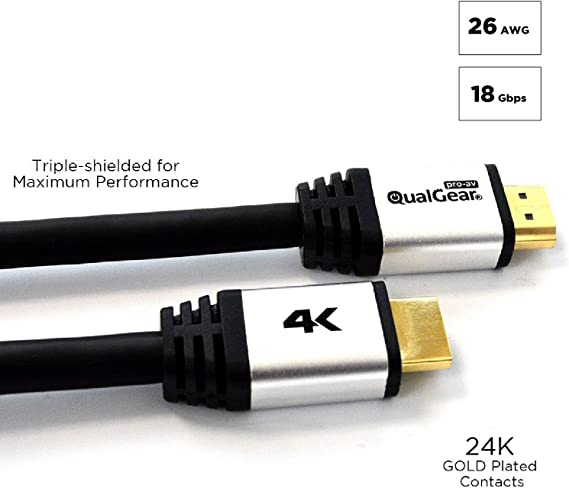 Amazon.com: QualGear - Cable HDMI 2.0 de alta velocidad con ...