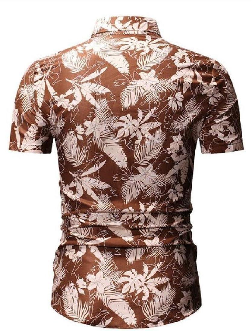 GenericMen Slim Fit Floral Short Sleeve Blouse Button Down Hawaiian Shirt
