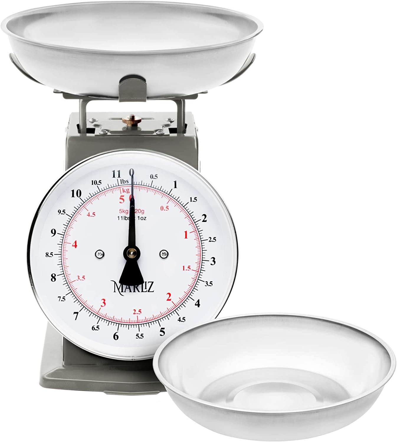 MARLIZ 11 lb/ 5Kg old antique style mechanical kitchen scale with 2 bowls |food scale for kitchen| analog kitchen scale Kilogram/pounds| analog food weight scales |meat scale grey