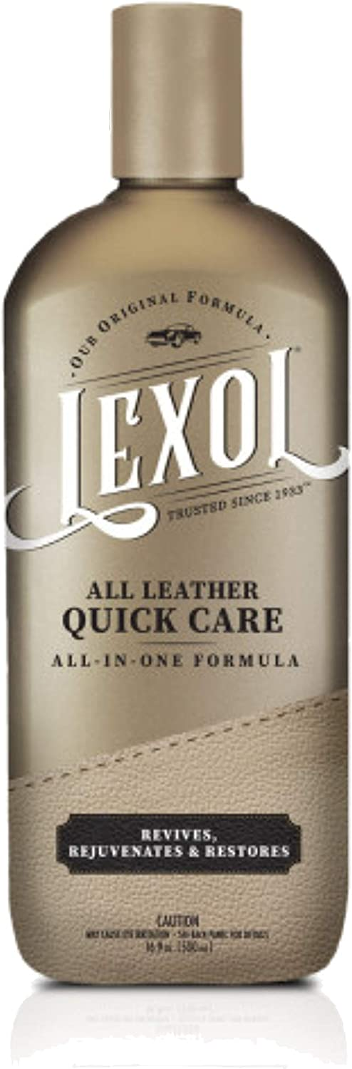 Lexol Leather All Leather Quick Care All-in-One Formula, 16.9 oz, Best Leather Cleaner and Conditioner Since 1933. for Use on Leather Apparel, Furniture, Auto Interiors, Shoes, Bags and Much More