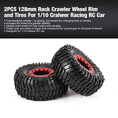 2 piezas de llanta y llantas de oruga de roca de 128 mm para 1/10 Traxxas HSP HPI ZD Racing RC Accesorios para neumáticos de automóviles Componente (Color: negro y rojo): Bricolaje y herramientas