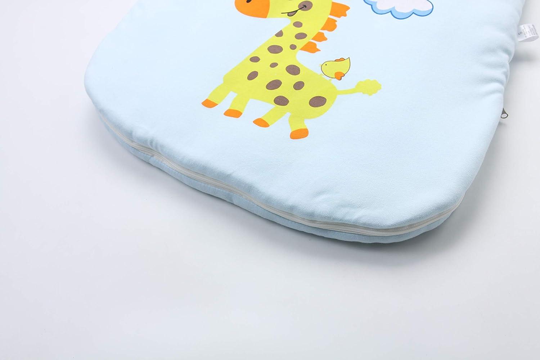 Jaimelavie Baby 3.5 Tog Winter Schlafsack ganz soft Kleine Kinder Schlafanzug mit abnehmbar Langarm aus Baumwolle S//Baby H/öhe 60-73cm, Blau Giraffe