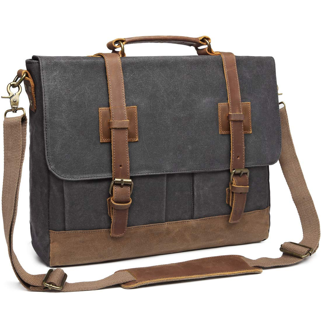 Messenger Bag for Men 15.6 inch Waterproof Waxed Canvas Genuine Leather Briefcase Computer Laptop Bag Large Retro Satchel Shoulder Bag Grey