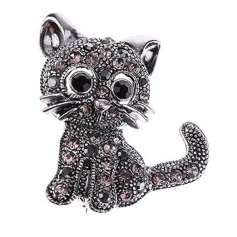 MagiDeal Broche de Gato Vintage Pinza de Diamante de ...