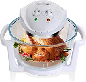 SAHOMWELL Air Fryer, Countertop Toaster Oven, Convection Oven with Glass Bowl, Easy to Clean, Halogen Heating Element, XL to 18 qt, White