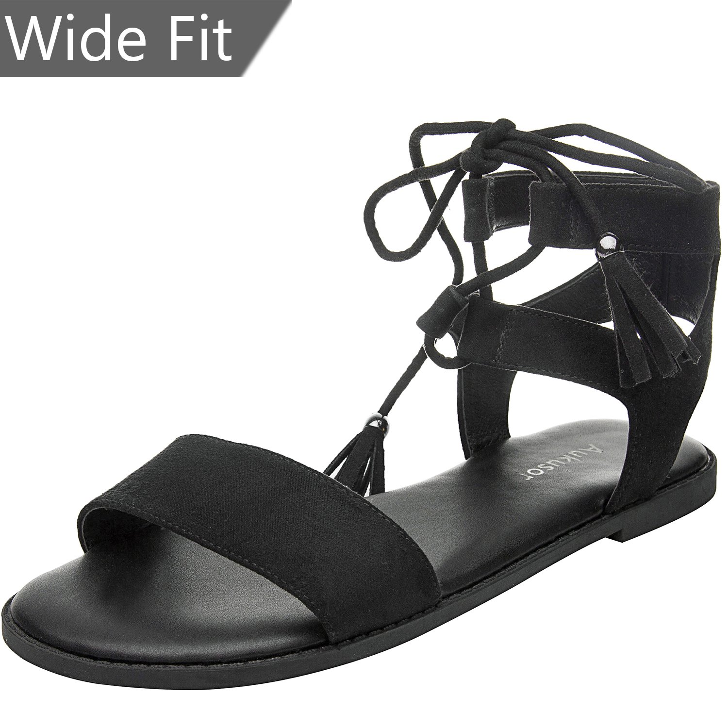 Women's Wide Width Flat Sandals - Comfortable Lace up Ankle Strap Casual Shoes.(180308 Black,9WW)