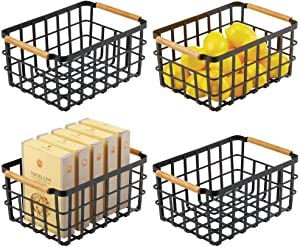 mDesign Farmhouse Decor Metal Wire Food Organizer Storage Bin Baskets with Bamboo Handles for Kitchen Cabinets/Pantry - Store Fruit, Coffee, Spices, Pasta, Baking Supplies, 4 Pack - Matte Black/Bamboo