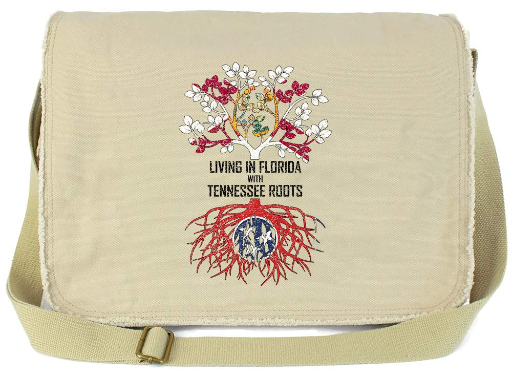 Tenacitee Living In Florida with Tennessee Roots Grey Brushed Canvas Messenger Bag