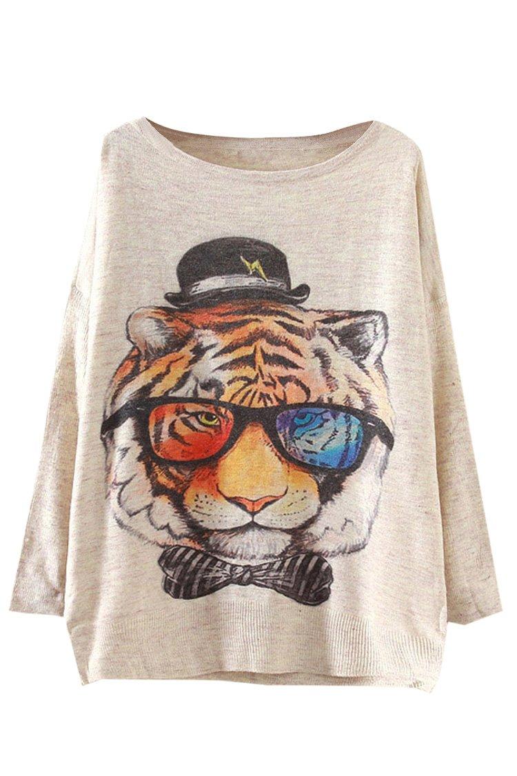 Pink Queen Womens Glasses Tiger Print Crewneck Pullover Sweater Sweatshirt