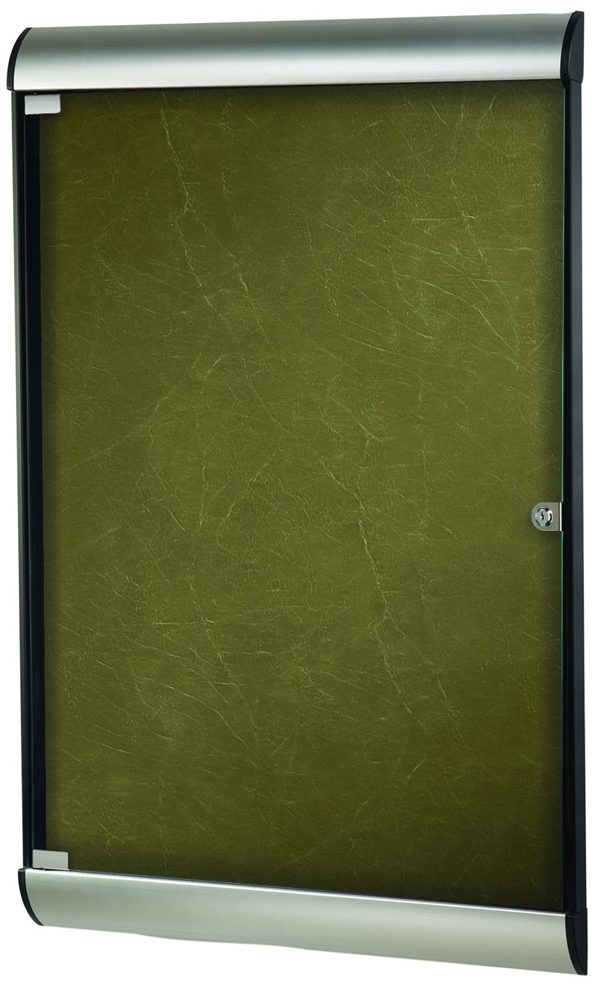 Ghent 42-1/8 x 27-3/4 Inches 1-Door Silhouette Enclosed Bulletin Board, Satin and Black Frame with Flair Fabric, Forest , Made in the USA