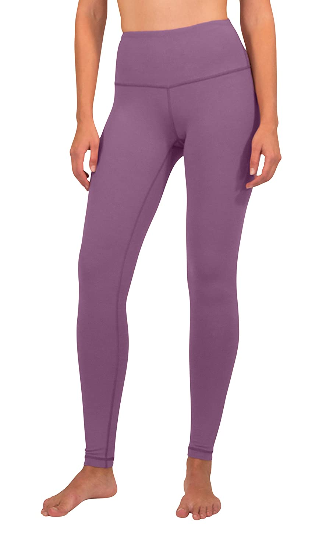Purple Dash 90 Degree by Reflex  High Waist Cotton Power Flex Leggings  Tummy Control