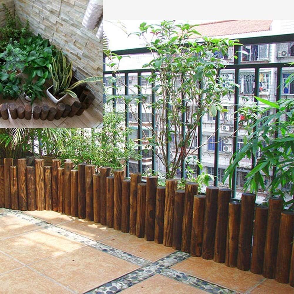 ZHANWEI Valla de jardín De Madera Estaca Redonda Bordura de jardín ...