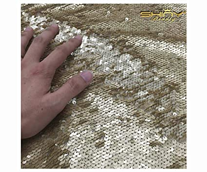41e2ec92d79943 Image Unavailable. Image not available for. Color  1 Yard Mermaid Flip Up  Matte Gold Sequin Reversible Sparkly Stretch Fabric ...