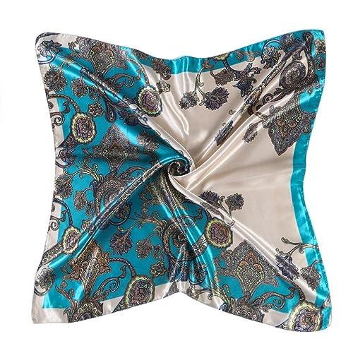 Kanpola Señora Impresión el Pañuelo de Satén Cabeza Cuello Mantón Cuadrada Chal Bufanda para Mujeres