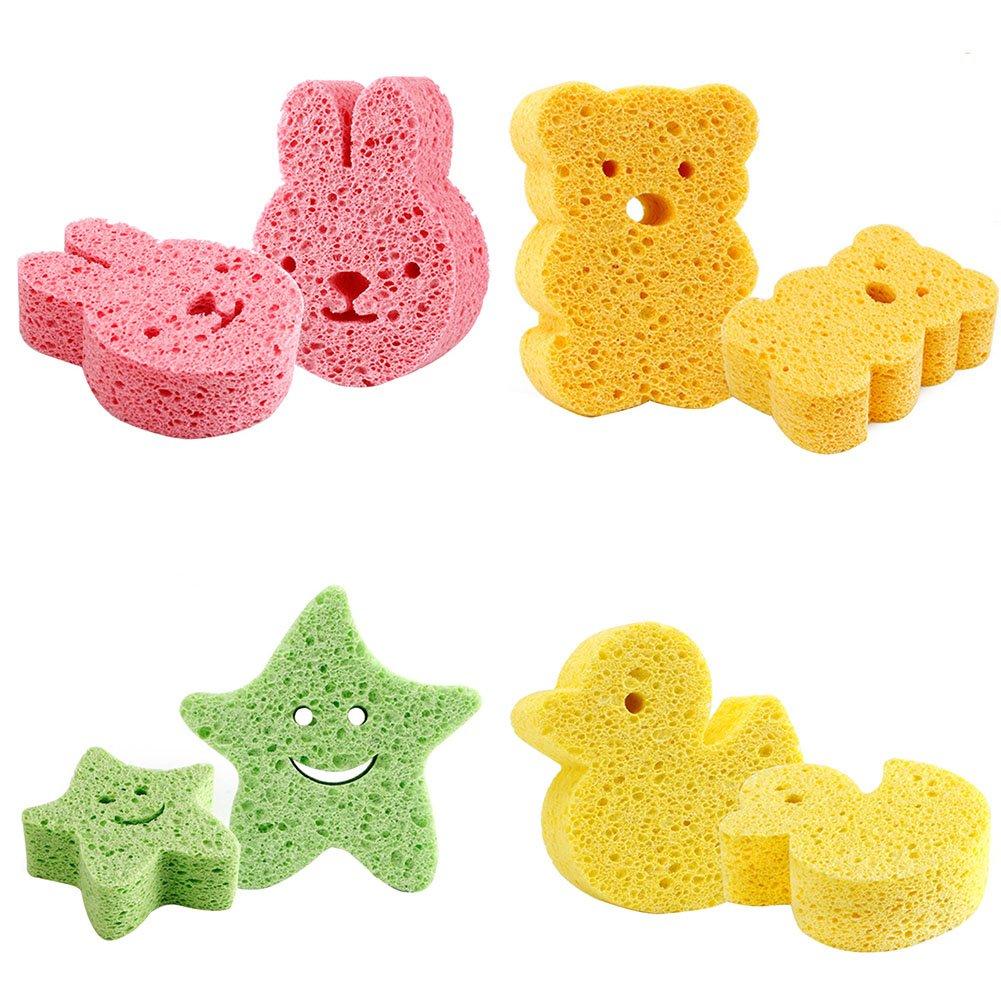 Samber Super Soft Baby Bath Sponge Children Bathing Scrubber Cartoon Sponge Bath Rubbing Loofah Infant Shower Scrub for Baby Kids Children (Rabbit)