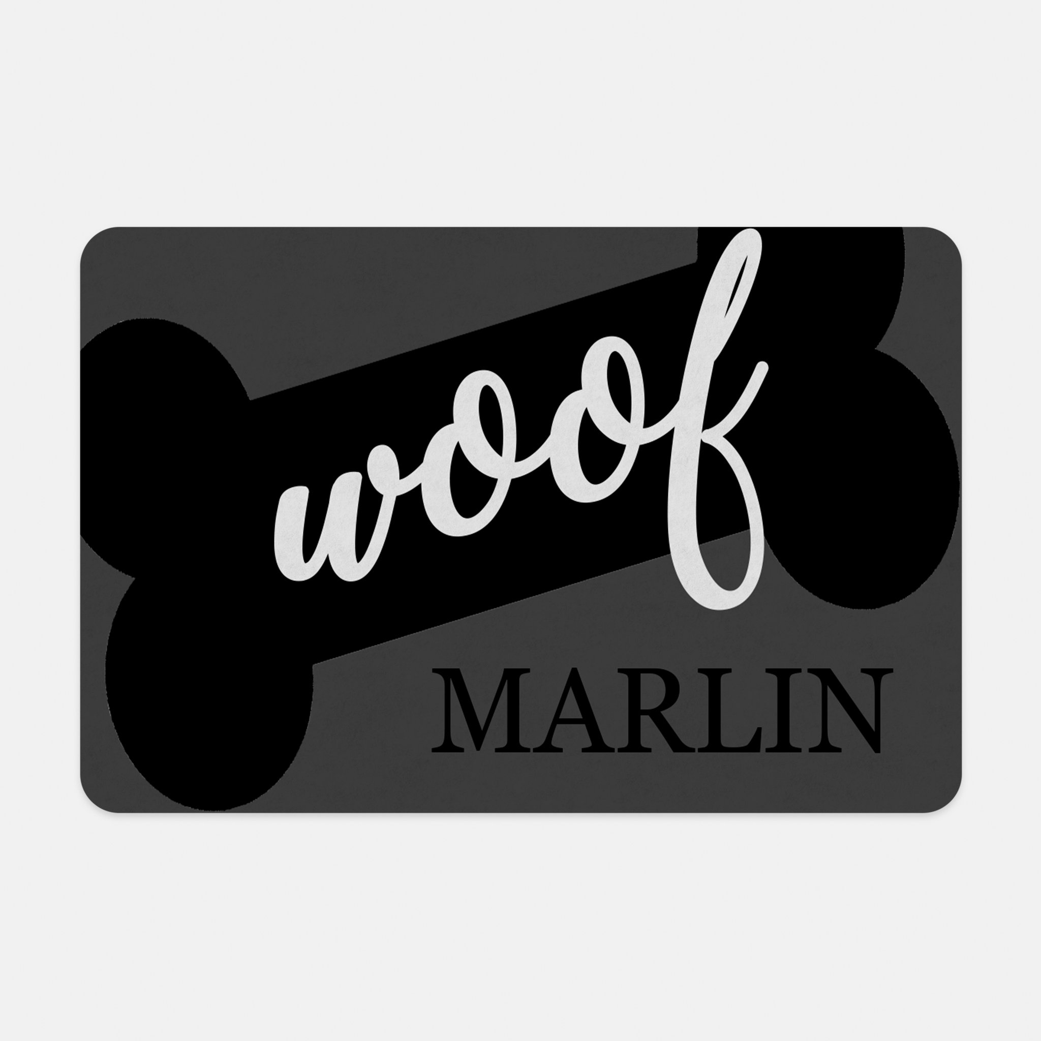 Personalized Pet Mat - 10 x 16 (Woof Dog Bone)