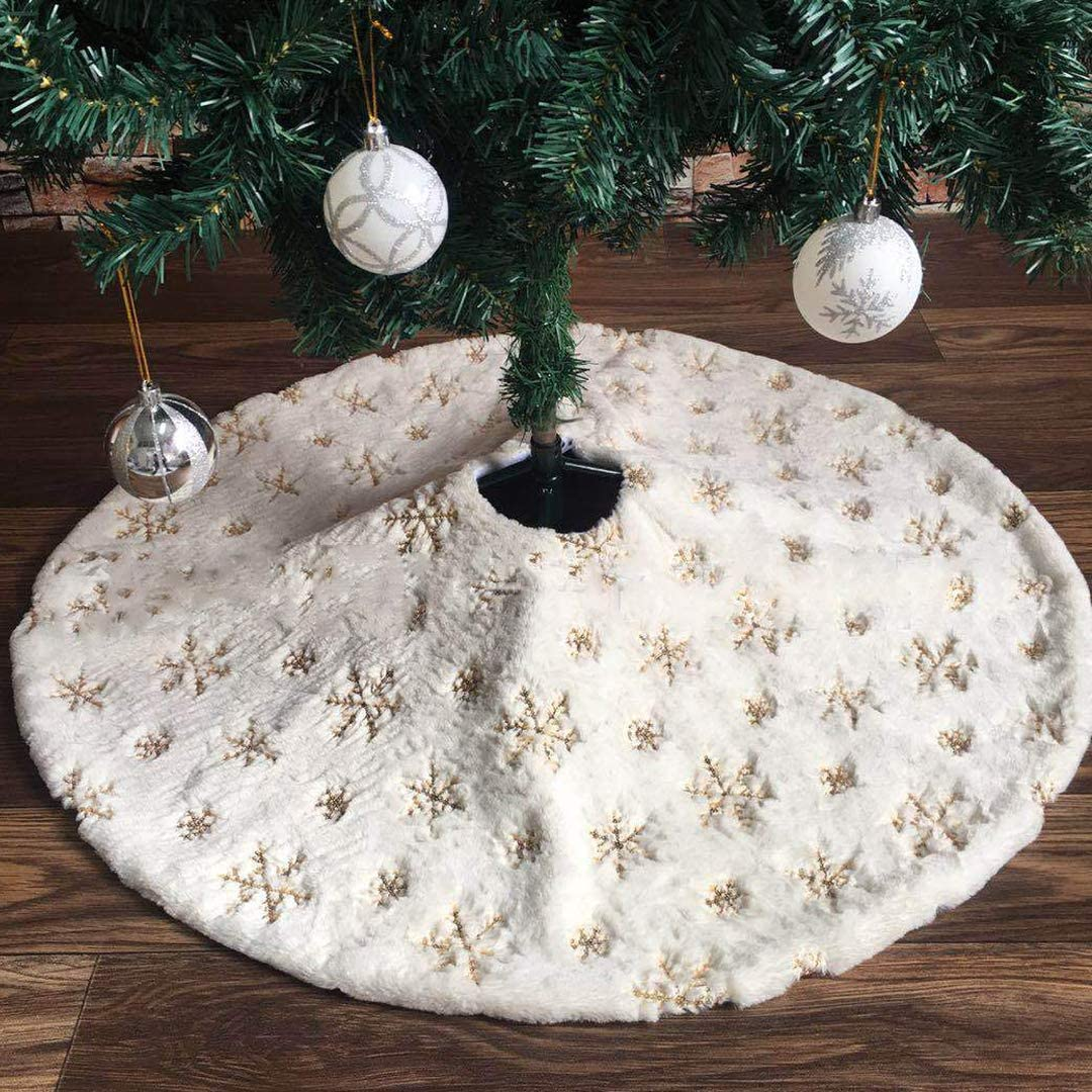 WeeH Christmas Tree Skirt 3 FT Fur Round Mat Xmas Tree Skirt for Home Decoration Christmas Holiday Party, Pure Faux Carpet for Gift and Pet (Gold White Snowflake)