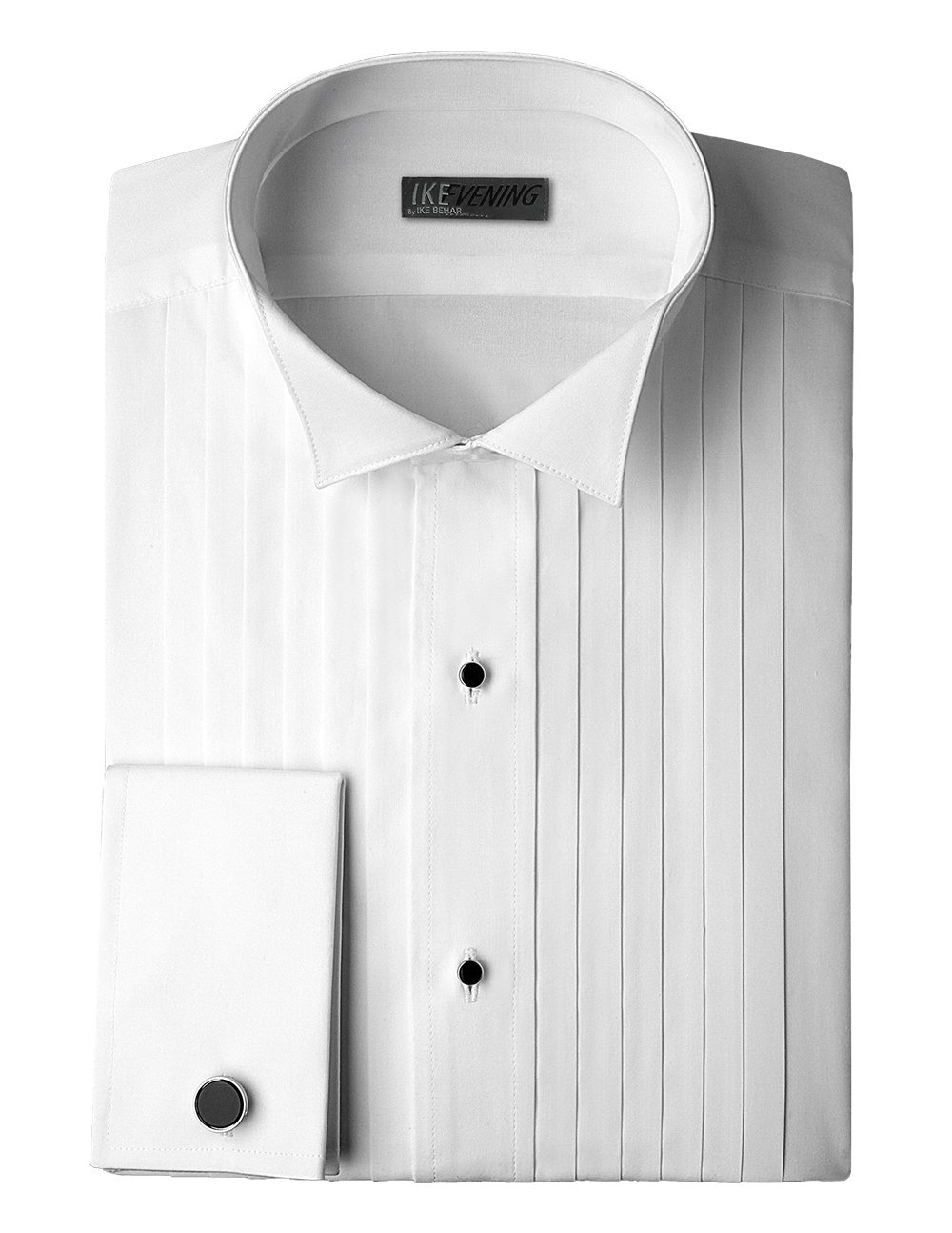 Ike Behar Traditional Fit 100% Woven Cotton Tuxedo Shirt with French Cuffs